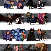 Awesome Evolution Of Batman Films Art Series