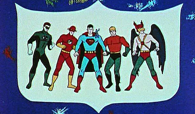 Essentially, all these guys with Superman from the Filmation Justice League cartoon.  Fun fact:  Aquaman never appeared with the other outside the opening credits...OK, that fact wasn't very much fun.