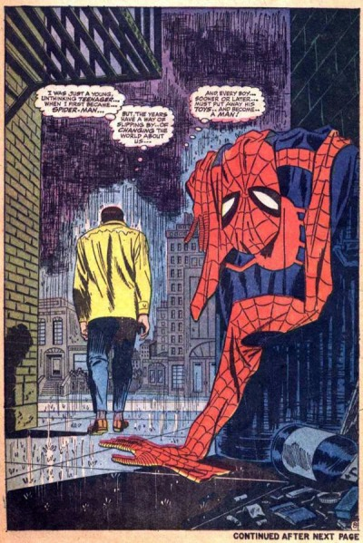 Amazing Spider-Man #50.  While the cover has spawned endless homages, this interior panel is one of the most iconic Spider-Man images ever.