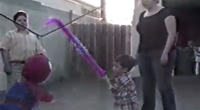 When a three year old takes on a Spider-Man pinata, everyone wins.