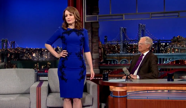 By the end of the clip, Tina Fey removes this dress.  That's not a spoiler, that's just awesome.