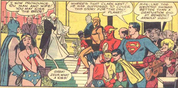 That guy in the lower right corner intrigues me.  Who invited him?  Oh, and Superman, you aren't fooling anybody.