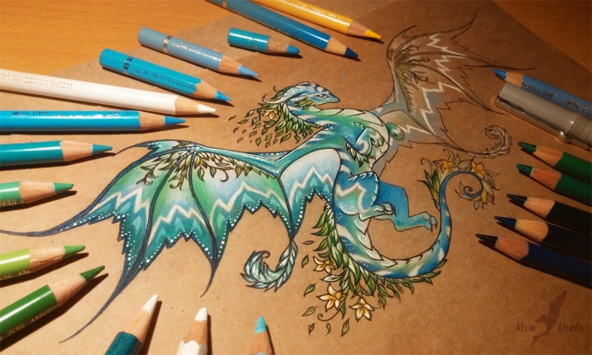 dragon_of_a_spring_forest___wip___by_alviaalcedo-d8ko6dp