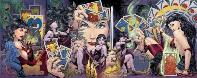 Madame Xanadu, seen here in various iconic poses, none of which include standing up.