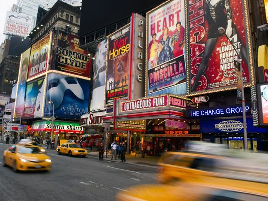 Fun Fact: Only one of the shows in this picture was decent and yet despite all the billboards advertising Broadway performances Watson will only see the now-closed Sbarro and lament its untimely death.