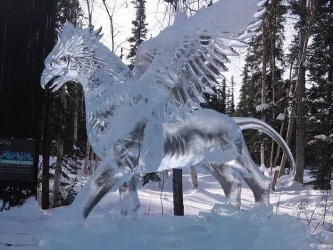 I stand corrected, apparently an ice sculpted Griffon is not a myth. Who knew?