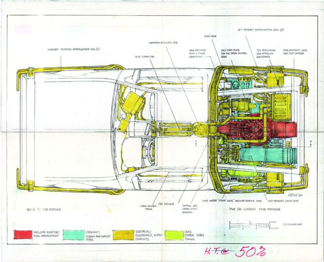 Blueprint of the DeLorean.