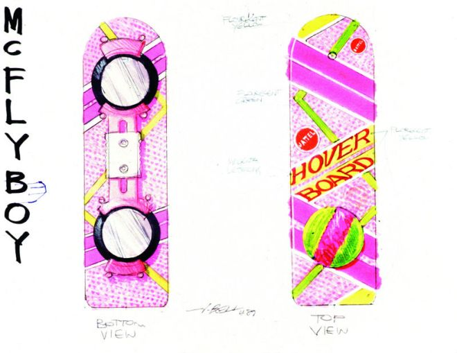 Hoverboard design drawing.