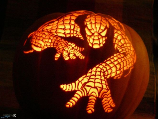 decorating-ideas-minimalist-kid-spiderman-pumpkin-carving-lantern-for-kid-halloween-decoration-ideas-interesting-pictures-of-decorative-spider-pumpkin-carving